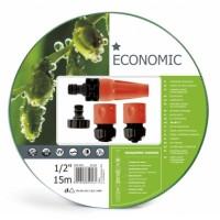 """10-101 Комплект за поливане / измиване ECONOMIC 1/2"""" 15 m маркуч + комплект връзки за маркуч и струйник"""